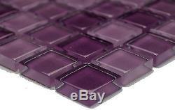 PURPLE MIX CLEAR 3D Mosaic tile GLASS Square WALL Bath&Kitchen 72-1104 10 sheet