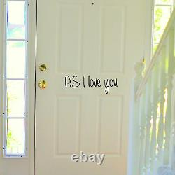 P. S. I LOVE YOU Bedroom Wall Art Sticker Quote Decal Romance Door Vinyl
