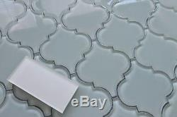 Pacifica Off White Arabesque Glass Mosaic Tiles Kitchen Backsplash Tile