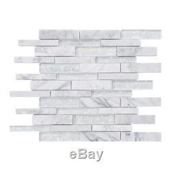 Pearl White Iridescent Crystal Glass Calacatta Marble Stone Backsplash Wall Tile