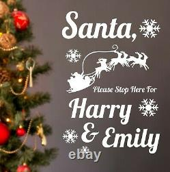 Personalised Christmas Wall Sticker Santa Stop Here Names Window Vinyl Adhesive