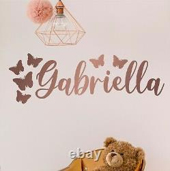 Posh Personalised Name With Butterflies Kids Wall Sticker Decal Bedroom