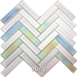 Pure White Iridescent Herringbone Glass Mosaic Tile Kitchen Wall Backsplash