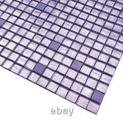 Purple Ice Glass Iridescent Blend Kitchen Bath Mosaic Tile Backsplash Wall