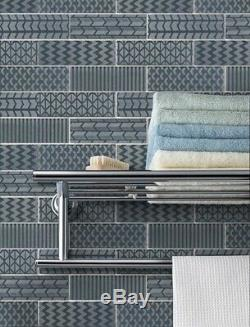 Quilted 2x6 Acid Etched Glass Mosaic Tiles Ocean Kitchen Backsplash/Bathroom