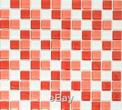 RED/WHITE MIX CLEAR 3D Mosaic tile GLASS WALL Bath & Kitchen 72-0904 10 sheet