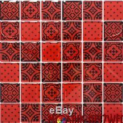 RED with black Design Mosaic tile GLASS WALL Splashback 78B-0902 10 sheet