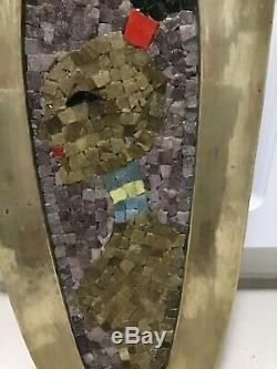 Rare Vintage 23 Salvador Teran Stone Tile Woman Mosaic Wall Brass Leaf Tray