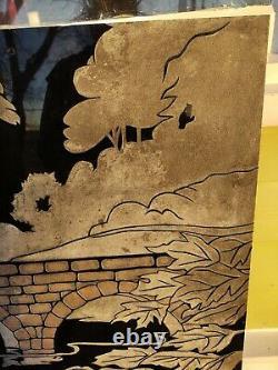 Reclaimed Vintage Vitrolite Wall Art. Art Deco Vitrolite Wall Panel. Swans
