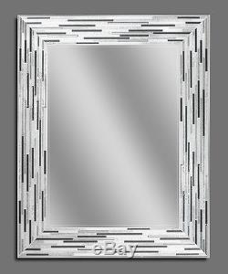 Reeded Charcoal Tiles Decorative Frameless Wall Mirror (1220)