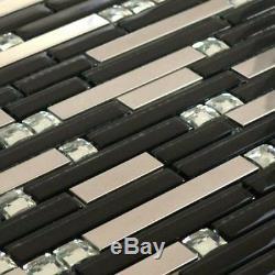 Reflection Polished Stainless Steel Black Glass Mosaic Backsplash Wall Deco Tile