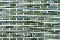 Rip Curl Green and Blue Hand Painted Glass Mosaic Subway Tiles Bathroom Tile