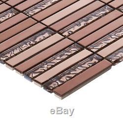 Rose Gold Copper Color Metallic Metal Glass Mosaic Tile Kitchen Wall Backsplash