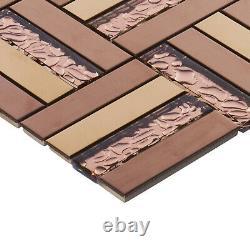 Rose Gold Copper Metallic Glass Parquet Mosaic Tile Kitchen Bath Wall Backsplash