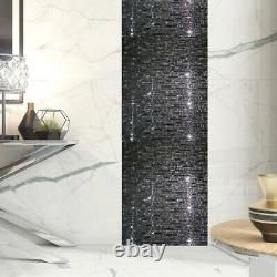 Ruby Black Diamond Designer Glass Mosaic Tiles Sheet For Walls Floors Bathrooms