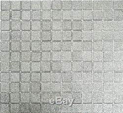 SILVER Glitter 3D Mosaic tile GLASS Square Wall BATH Splashback 60-020710sheet