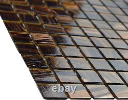 SOMERTILE Coppa Brown Gold 12 x 12 x 4 mm Glass Mosaic Tile 13 tiles/13.27