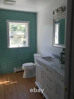 Sage Green Glass Subway Tile 3x6 for Backsplashes, Showers & More BOX OF 11