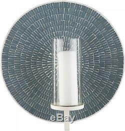 Sage Mosaic Tile Round Sconce Wall Hanging Candle Holder Glass Shade Home Decor