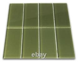 Sagebrush Glass Subway Tile 3x6 for Backsplashes, Showers & More BOX OF 11SQFT
