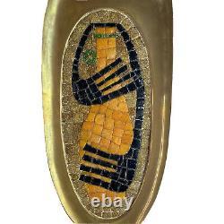 Salvador Teran Mosaic Glass Tile Brass Fine Art Wall Hanging Mid Century Modern