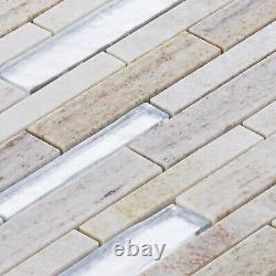 Sand Cream Gray Quartzite Marble Stone Silver Glass Mosaic Tile Wall Backsplash
