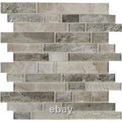 Savoy Interlocking 12 in. X 12 in. X 8mm Glass Mesh-Mounted Mosaic Tile 10 sq