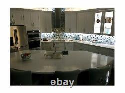 Sea Blue Green Glass Stainless Steel Tile White Kitchen Bath Backsplash Artis
