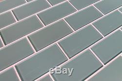 Seaside Aqua 3 x 6 Glass Subway Tiles for Kitchen Backsplash/Bathroom Walls