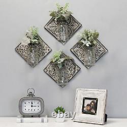 Set of 4 Hanging Glass Vase on Tile Wall Decor