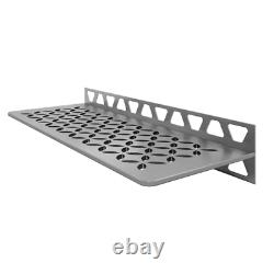 Shelf-W Brushed Stainless Steel Floral Wall Shelf