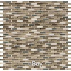 Silver Tip Glass Stone Metal Blend Mosaic Wall Tile-MSI -1 Box=10 Sqft