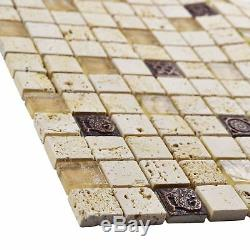 SomerTile 12x12-inch Basilica Gloucester Beige Glass And Stone Mosaic Wall Tile