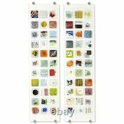 Spectacular Oversize 45in Fused Art Glass Wall Panel Modern Square Tile Colorful