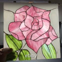 Stained Glass Mosaic Panel Tile Wall Art Pink Rose White Green Slag 13 Vtg