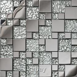 Stainless Steel Mosaic Tiles Tv/Kitchen Backsplash Wall, Glass Metal mosaic Home