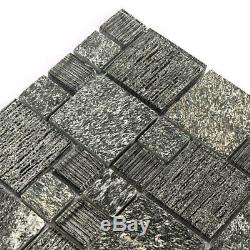 Stone Tiles Black Kitchen Backsplash Mosaic Tile Brthroom Wall Black (11PCS)