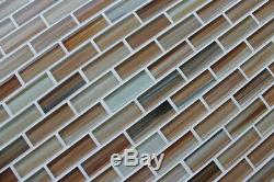 Sunset Beach Hand Painted Glass Mosaic Subway Tiles Backsplash/bathroom tile