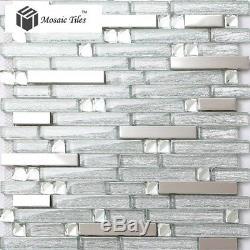Super Silver Interlace Kitchen Backsplash Glass Tile Silk Desgin Wall Art Mosaic
