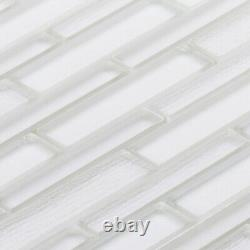 Super White Cold Spray Crystal Glass Textured Blend Mosaic Tile Wall Backsplash