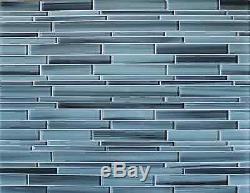 Surfz Up Hand Painted Linear Glass Mosaic Tiles Backsplash/Bathroom Tile
