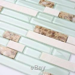 TST Aqua Marine Glass White Stone Tile Seashell Mother of Pearl Inlay Beach Wall
