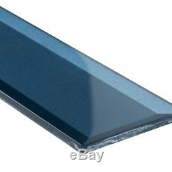 Tahiti Blue Beveled 2.5 In. X 8 In. X 8Mm Glass Wall Tile (5.6 Sq. Ft. / Case)
