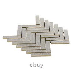 Tan Sand Crackle Glass Herringbone Mosaic Tile Kitchen Bathroom Wall Backsplash