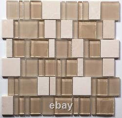 Tan Special Pattern Mosaic Glass and Stone Tile / 11 sq ft