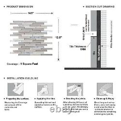 Taupe Gray White Oak Marble Stone Glass Brick Joint Mosaic Tile Wall Backsplash