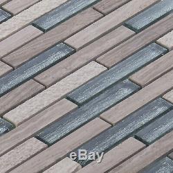 Taupe White Oak Gray Marble Stone Glass Mosaic Tile Kitchen Bath Wall Backsplash
