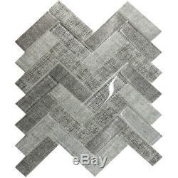Textile Gray Herringbone Glass Mosaic Tile Kitchen Shower Wall Backsplash