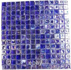 Tile 12x12 Blue Glass Shower Mosaic Wall Backsplash BOX OF 10 T-20
