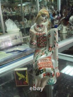 Ukrainian girl embroiders towel in fok dress Russian porcelain figurine 8467u